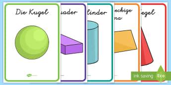 3D-Formen Poster für die Klassenraumgestaltung - Mathe, Geometrie, Figuren, Körper, Winkel, Inhalt, Kanten, Ecken, ,German