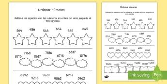 Ficha de actividad: Ordenar números - ordenar números, ordenar, orden, números, ficha, mates, matemáticas, ,Spanish