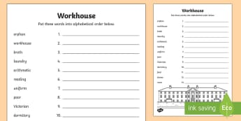 KS1 Workhouse Alphabet Ordering Activity Sheet - KS1 Workhouses, workhouse words, alphabet, ordering the alphabet, alphabet order activity, year 1, y