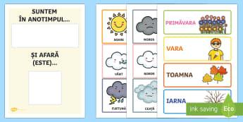 Calendar cu anotimpul și starea vremii - anotimp, vreme, anotimpuri, calendar, calendarul anotimpurilor, calendarul zilei, ,Romanian