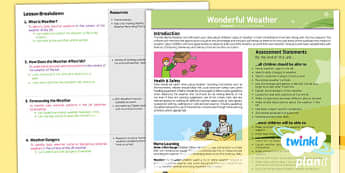 PlanIt - Geography KS1 - Wonderful Weather Planning Overview
