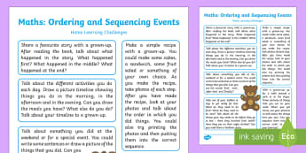 Orders and Sequences Familiar Events Home Learning Challenges - EYFS, Early Years, Orders and Sequences Familiar Events, maths, mathematics, 40-60, Time, time langu