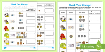 Check Your Change Activity Sheet - Learning from Home Maths Workbooks, money problems, change, shopkeeper, worksheet, shopping, coins