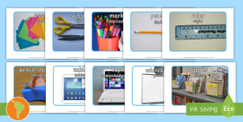 School Objects Photo Pack - US English/Spanish (Latin)  - School Objects Photo Pack - school objects, photo pack, photo, pack, ojects, spanish, eal