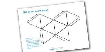 Net Of An Octahedron - net, octahedron, platonic solids, activity, building, creative