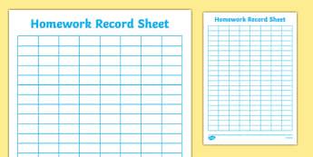 Editable Homework Record Chart - Howework record chart, recording homework, homework checklist, homework record, homework
