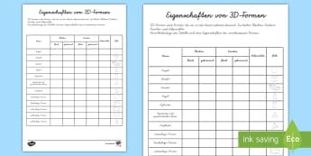 Eigenschaften von 3D Formen Arbeitsblatt - Figuren, Körper, Geometrie, Mathe, Tabelle, Ausfüllen,,German