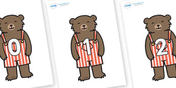 Numbers 0-31 on Little Bear - 0-31, foundation stage numeracy, Number recognition, Number flashcards, counting, number frieze, Display numbers, number posters