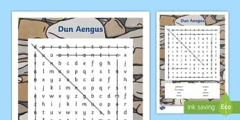 Dun Aengus Word Search - ROI - Dún Aonghusa,bronze age, fort, dun aengus, aran islands, inishmore, galway,Irish