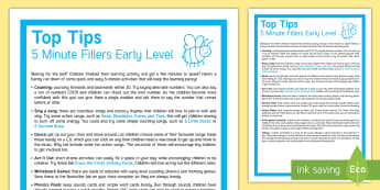 Probationers 5 Minute Fillers Early Level Top Tips - Time fillers, Early Level activities, Time to kill, Short activities, One off activities,Scottish
