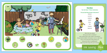 Garden Can You Find...? Poster and Prompt Card Pack - EYFS Parks and Gardens, playgrounds, bbq, barbecue, summer, paddling pool, finding, summer, sun, fun