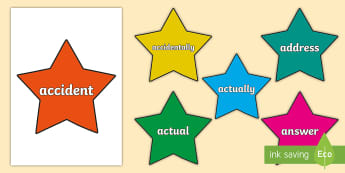 Year 3 and 4 Common Exception Words on Stars Display Posters - Year 3 and 4 Common Exception Words on Multicolour Bricks - year 3, year 4, common exception words,