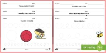 Elemente grafice Fișe de lucru - motricitate fină, elemente grafice, controlul creionului, scriere, început de an școlar,Romanian