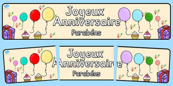 French Happy Birthday Display Banner Portuguese Translation - portuguese, happy birthday, display banner, display, banner