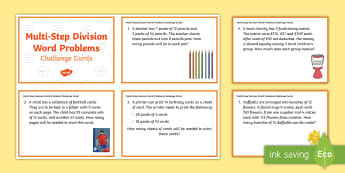 KS2 Multi-Step Division Word Problems Maths Challenge Cards - KS2, Key Stage 2, Year 3, Year 5, Year 6, Y3, Y5, Y6, solve problems, including missing number probl