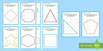 Geoboard 2D Shapes Challenge Cards - shape, space, measure, 2D, flat, board, peg, elastic bands