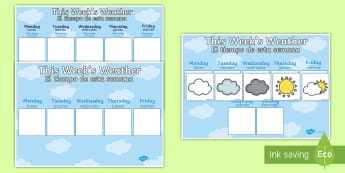 Weekly Weather Recording Chart Display Poster English/Spanish - weather calendar, weekly weather calendar, weakly weather chart, weekly weather display, this weeks