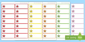 Bunte Schubladenetiketten für die Klassenraumgestaltung - Organisation, Schubladen, Schrank, Schränke, Ordnung, Namensschilder, Schilder, ,German