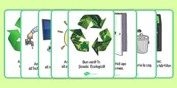 Ecologie si reciclare, Planse ilustrate - ecologic, reciclam, romana