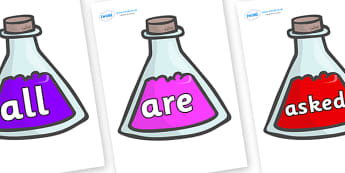 Tricky Words on Potions - Tricky words, DfES Letters and Sounds, Letters and sounds, display, words