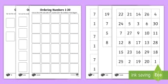 Ordering Numbers Differentiated Activity Sheets - mathematics, Ordering Numbers  Differentiated Activity Sheets  Australian, ordering numbers, kinderg