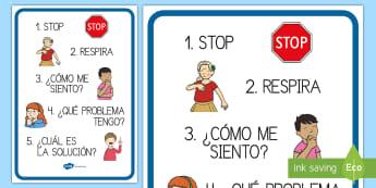 Póster DIN A4: Los 5 pasos que tomar antes de reaccionar - emociones, educación emocional, inteligencia emocional, problemas de comportamiento, autoestima, au