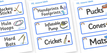 Rainbow Themed Editable PE Resource Labels - Themed PE label, PE equipment, PE, physical education, PE cupboard, PE, physical development, quoits, cones, bats, balls, Resource Label, Editable Labels, KS1 Labels, Foundation Labels, Foundation Stage La