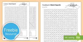 Food bank Word Search - Food Bank, foodbank, hunger, charity, volunteer, community, food parcels, crisis.