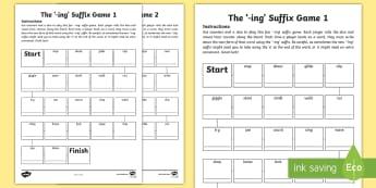 Suffix '-ing' Board Game  - ing, suffix, ending, board game, spelling, vocabulary, language,Irish
