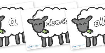 100 High Frequency Words on Sheep - High frequency words, hfw, DfES Letters and Sounds, Letters and Sounds, display words