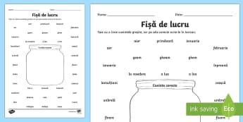 Borcanul care conține cuvinte corecte Fișă de lucru - idei, scris, corect, cuvinte, corecte, limba română, gramatică, particularități, excepții, rom