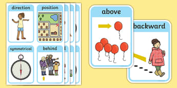 CfE Early Level Numeracy and Mathematics Angle, Symmetry and Transformation Keyword Flashcards-Scottish