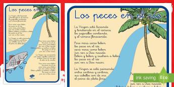 Los Peces en el Río Póster DIN A4-Spanish - Navidad, villancicos, canción de Navidad, festival.,Spanish