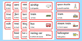 Transport Topic Word Cards French Translation - vehicles, cars, lorries, helicopter, vocabulary, van, lorry, France, French, MFL, Francais, bilingual