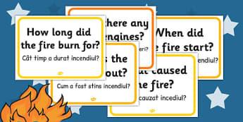 Great Fire of London Question Cards Romanian Translation - romanian