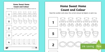 Home Sweet Home Count and Colour Activity Sheet - Aistear, Exploring My World, Houses, Homes, Sitting Room, Kitchen, Bathroom, Bedroom, Shed numeracy,