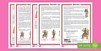 KS2 Navratri  Differentiated Fact File - Durga Puja, Hinduism, Hindus, Festival, Celebration.