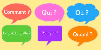 Question Words on Speech Bubbles French - french, question, words, speech bubbles, france, francais, speech buubles