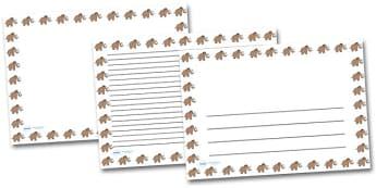 Wooly Mammoth Landscape Page Borders- Landscape Page Borders - Page border, border, writing template, writing aid, writing frame, a4 border, template, templates, landscape