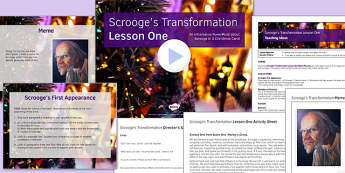 A Christmas Carol Lesson Pack 2: Scrooge's Transformation 1 - Stave One - christmas carol, scrooge, transformation, lesson one, pack