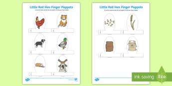 Little Red Hen Finger Puppets - finger, puppets, little red hen