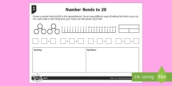 Mastering Bonds to Twenty Differentiated Activity Sheets - Addition and Subtraction, number bonds, part-whole diagram, number line, bar model, context, problem
