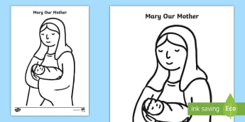 Mary Our Mother Colouring Page - Mary, Mother of God, Our Lady, Mary colouring, religious colouring activity,Scottish