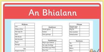 Role Play Waiters Checklist (Biachlár) Gaeilge - biachlar, restaurant, bialann, an bhialann, food, bia, role play, Aistear, menu, resource pack, irish, gaeilge, comhra,