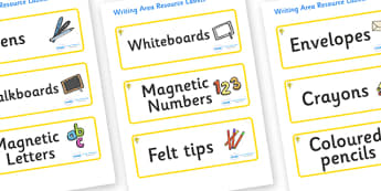 Daffodil Themed Editable Writing Area Resource Labels - Themed writing resource labels, literacy area labels, writing area resources, Label template, Resource Label, Name Labels, Editable Labels, Drawer Labels, KS1 Labels, Foundation Labels, Foundati