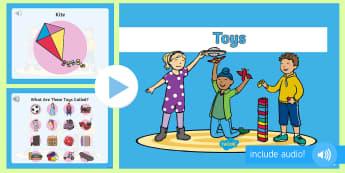 Jucării în limba engleză PowerPoint  - vocabular în engleză,  comunicare în engleză, pronunție în engleză, activități de comunicar