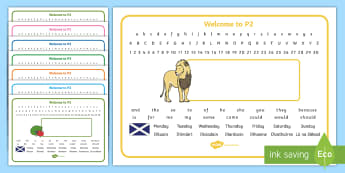 Welcome to P2 (with Gaelic) Desk Mats - Start Of Year, day, week, Name Label, Desk Names, Editable, Start Of P2, Gaelic,Scottish