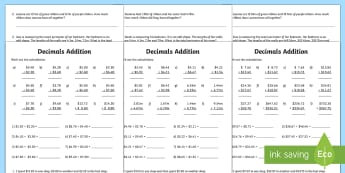 Decimals Addition Activity Sheet - year 5, year 6, adding decimals, addition, fractions and decimals.,Australia