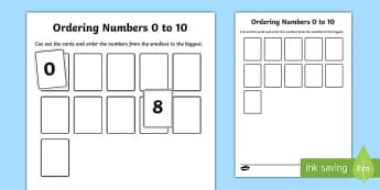 Ordering Numbers 0 to 10 Activity