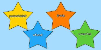 Dni tygodnia na kolorowych gwiazdkach po polsku - przedszkole